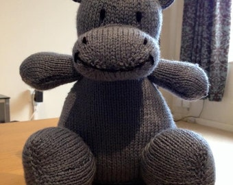 Hand knitted Happy hippo soft toy