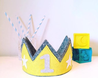Grey and yellow birthday crown