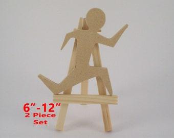 Cutout Wood Running Man x2