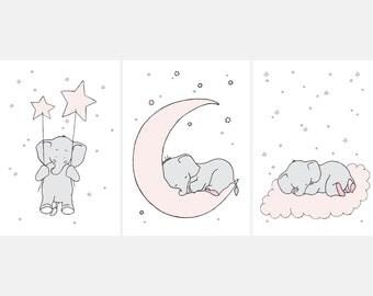 Elephant Printable Nursery Wall Set,Printable Nursery,Elephant Children's Art,Pink Nursery,PinkDecor,Elephant Girls Nursery,Elephant Baby