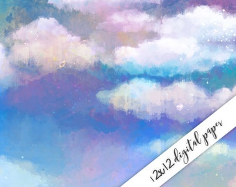 Digital Paper, Watercolor, Nature, Sky, Clouds, 12x12, Watercolor Digital Background, Scrapbook Paper Download