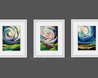 """Original Painting, Abstract Landscape painting, Contemporary Art, Set of 3 painting, Modern Painting on Paper 11""""x15"""""""