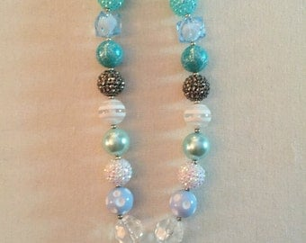Blue Diamond Chunky Bubblegum Bead Necklace