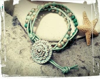 Mint Dream - Double Leather Wrap Bracelet/Czech Beads/Mint Leather/Turquoise/Gold Wash Mint/Bronze Luster/Aqua Beads - Vintage Button