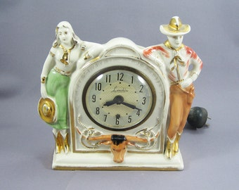 Vintage Clock Cowboy & Cowgirl Western 1940s