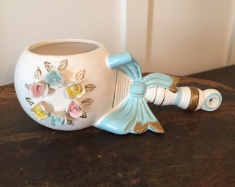 Vintage Baby Rattle with Blue Bow Planter Made in Japan For Rubens Originals Los Angeles