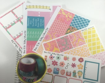 Palm Springs ECLP Weekly Kit Mambi Happy Planner Stickers tropical flamingo floral Check Lists Daily Boxes