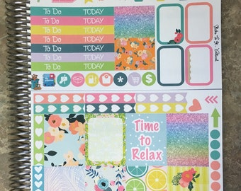 Cheeky Tiki Mini Weekly Set ECLP Horz and Vert Planner Stickers - Full Week Set Floral ECLP Mambi Inkwell Press Filofax Kikki K Happy Lif
