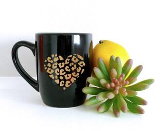 Metallic Gold Leopard Heart Mug