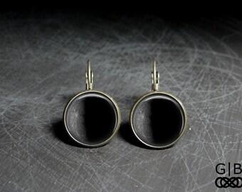Mercury Earrings Charcoal Gray Earrings Mercury Dangles - Planet Mercury Jewelry Gray Planet Earrings Charcoal Gray Dangles Mercury Earrings