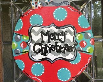 Merry Christmas ornament door hanger Ornament door hanger Christmas ornament door sign