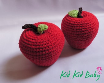 Crochet Apple - Crochet toy - Teething Toy - Pretend food