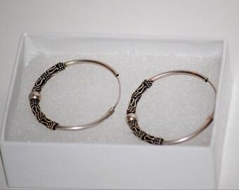 Silver Design Hoop Earrings