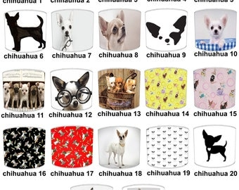 Chihuahua Puppy Dog Lamp shades, To Fit Either a Table Lamp base or a Ceiling Light Fitting.
