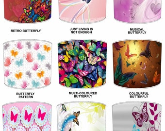 Butterfly Design Childrens Lamp shades, To Fit Either a Table Lamp base or a Ceiling Light Fitting.