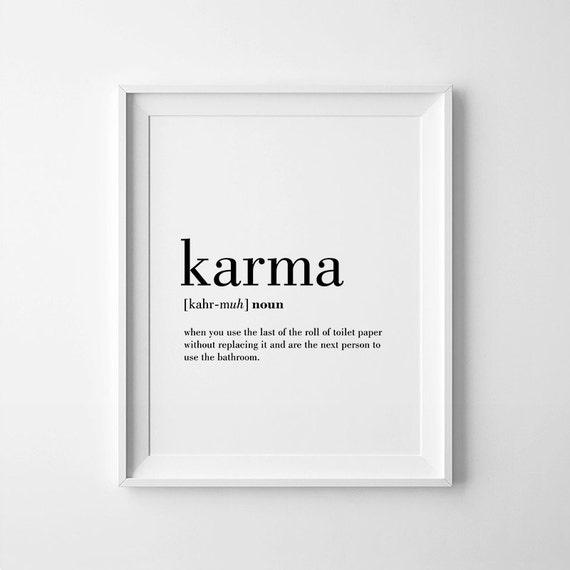 Badezimmer Poster Karma Definition Print Karma Printable Bathroom Wall By
