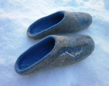 Blue color felted slippers for men. Felt slippers. Handmade house shoes. I can felt in all sizes or colours.