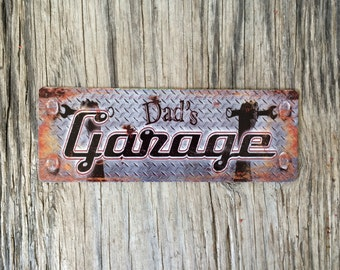 Vintage style tin metal sign // gift for him // rustic dads garage man cave wall art // rustic tools handyman sign