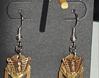 mixed metals butterfly earrings