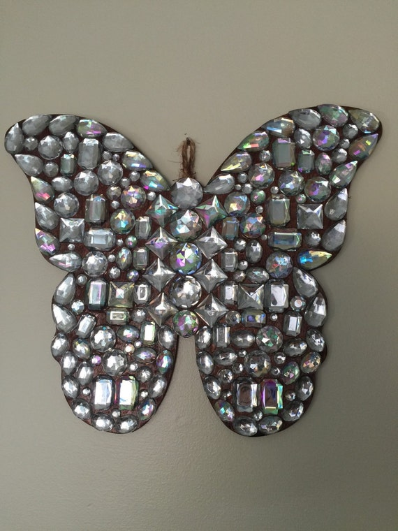 Wall Decor With Rhinestone : Rhinestone covered butterfly wall decor by rockellaboutique
