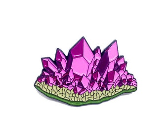 "Amethyst Crystal Geode Lapel Pin 1.5"" Enamel Purple Crystals Mineral Birthstone"