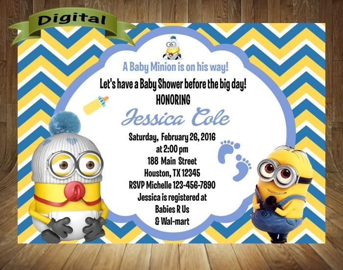 minion baby shower invitation minion shower by digitaldelites