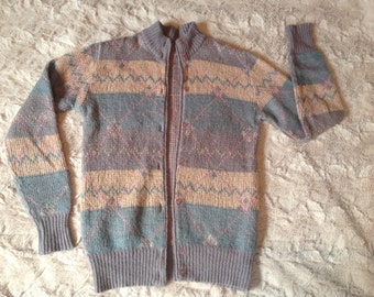1970s Vintage Cardigan. Lilac, Cream and Green (S)