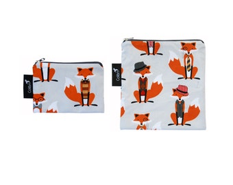 Ready to ship - Reusable Snack Bag Set - Foxes with zipper