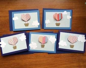 "5 ""Hot air balloon"" No. blank cards. 8"