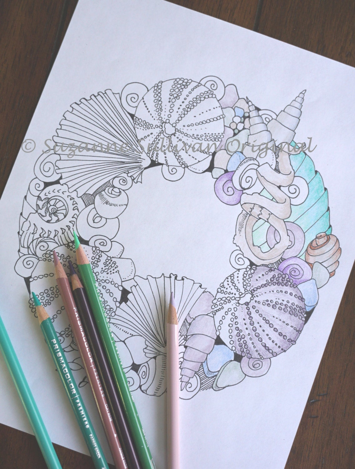 Printable coloring pages of seashells -  Zoom