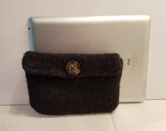 Black felted purse pouch
