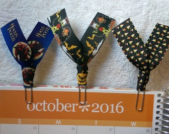 Hocus Pocus, Garfield, Candy Corn Halloween Ribbon Paper Clips - For Planners/Bookmark