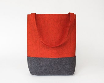Wool Felt Tote in Orange and Charcoal Gray | Felt Bag