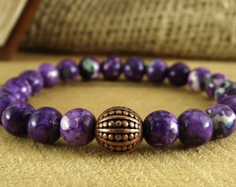 Purple Jewelry Agate Bracelet Crown Chakra Agate Jewelry Colorful Bracelet  Harmony Jewelry Purple Bracelet Violet Jewelry Healing bracelet