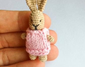 Rosy the rabbit. Crochet bunny. Amigurumi miniature.