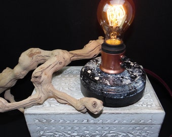 handpainted steampunk edison lamp black white and grey with copper rust resistant painted hardware