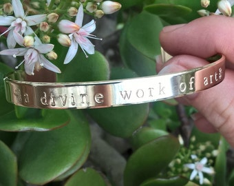 Hand Stamped Cuff Bracelet Band - a divine work of art
