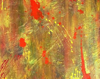 "Abstract canvas ""Red wax"" 16 X 20 in"