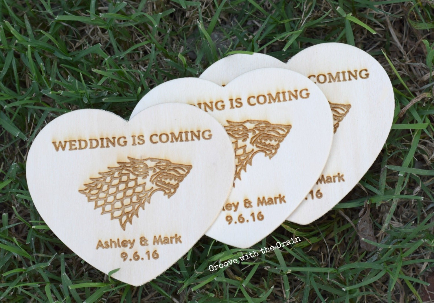 Game of Thrones inspired wedding, Save the date cards, wood heart ...