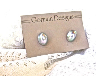 Gray MABE PEARL earrings for PIERCED ears 1980s  silver gray