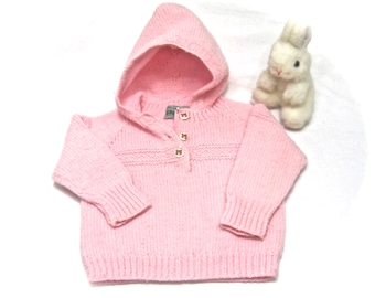 Vintage PINK hand knit baby girl hoodie  3 Beatrix Potter, Tabitha Twitchit buttons.