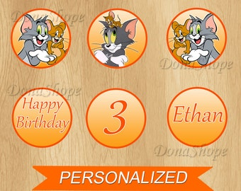 Tom and Jerry Cupcake Toppers ,Tom and Jerry Birthday Circles, PERSONALIZED, Digital File