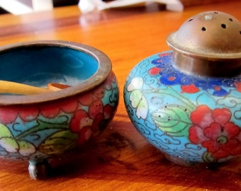 Vintage Cloisonne Salt Celler and Pepper Shaker