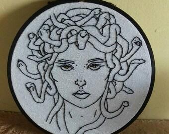 Gorgon/Medusa: hand embroidered, unique design. Embroidery art/hoop art. Mythological.