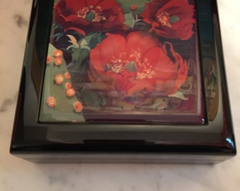 Asian Black Lacquer  Keepsake/ Jewelry Box With Tile Top