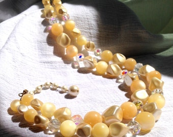 One of a Kind Peachy Double Strand Beaded Necklace