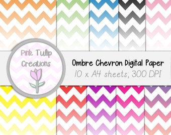 A4 Clip Art Backgrounds- Medium Colored Ombre Chevron x 10