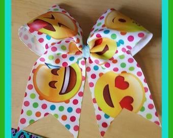 Emoji, Cheer, Hair bow, very colorful big size emojis with alligator clip