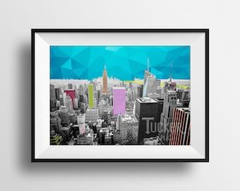 Abstract Skyline Print - New York City {mixed media photography photo wall art decor downtown cityscape conceptual nyc}