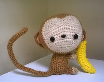 Monkey With Banana -Poseable or Safety- Cute!